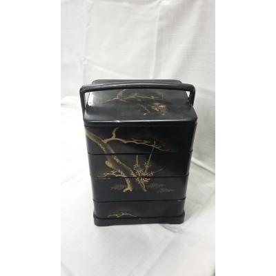 4-х ярусная лаковая коробка для хранения. Роспись.