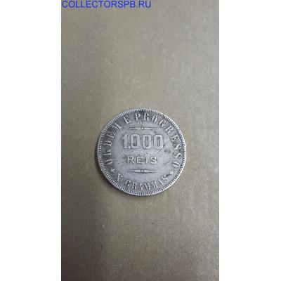Монета 1000 reis 1910 год. Бразилия.