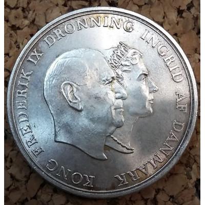 """Монета 5 крон 1960 г. Дания. """"Свадьба"""". Серебро."""