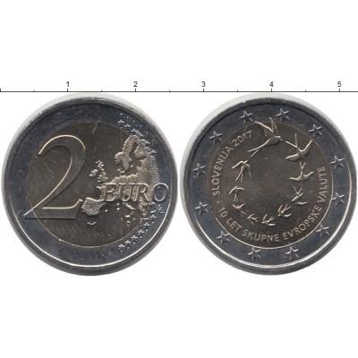 """Монета 2 евро 2017 год. Словения. """"10-я годовщина евро в Словении""""."""