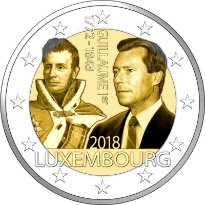 "Монета 2 евро 2018 год. Люксембург. ""175 лет со дня смерти Великого герцога Гийома I""."