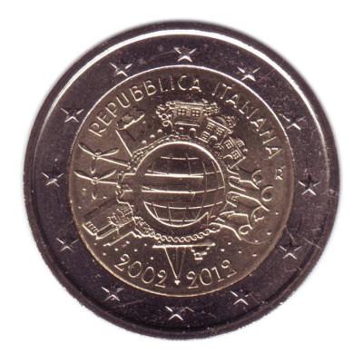 "Монета 2 евро 2012 год. Италия. ""10 лет наличному обращению евро""."