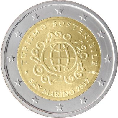 Монета 2 евро 2017 г. Сан-Марино. Международный год развития туризма.