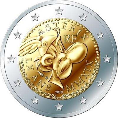 """Монета 2 евро 2019 г. Франция. """"60 лет Астериксу""""."""