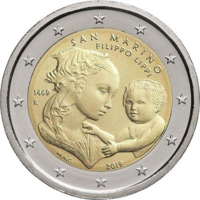 """Монета 2 евро 2019 год. Сан-Марино. """"550 лет со дня смерти Филиппо Липпи""""."""