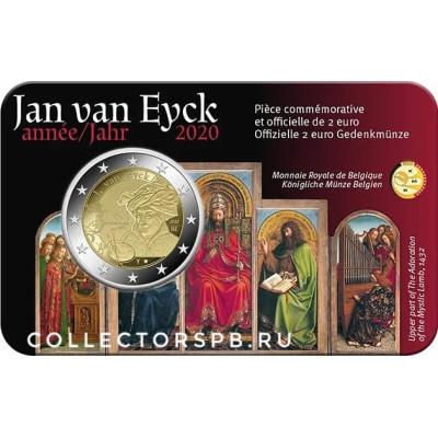 Монета 2 евро 2020 год. Бельгия. Ян ван Эйк. В родной открытке.