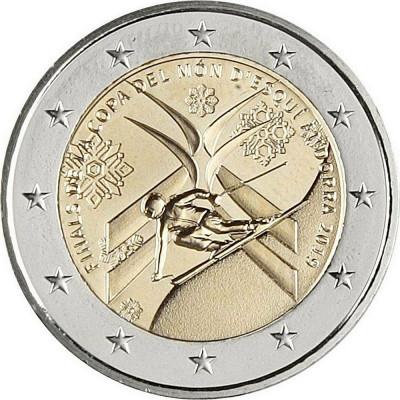 Монета 2 евро 2019 года. Андорра. Финал Кубка мира по горнолыжному спорту.