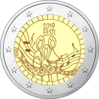 """Монета 2 евро 2019 года. Эстония. """"150-летие первого фестиваля песни""""."""