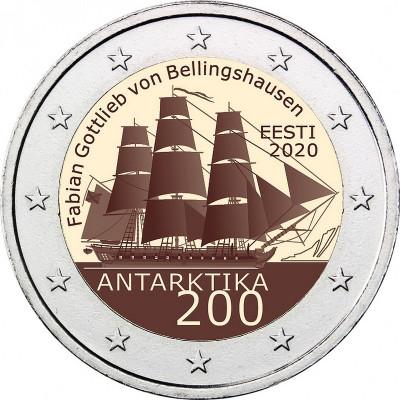 """Монета 2 евро 2020 год. Эстония. """"200 лет со дня открытия Антарктиды""""."""