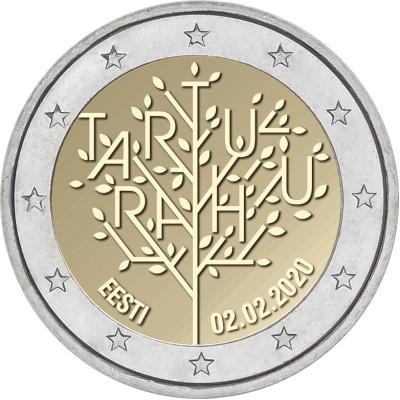 """Монета 2 евро 2020 год. Эстония. """"100-летие Тартуского мирного договора между РСФСР и Эстонией""""."""