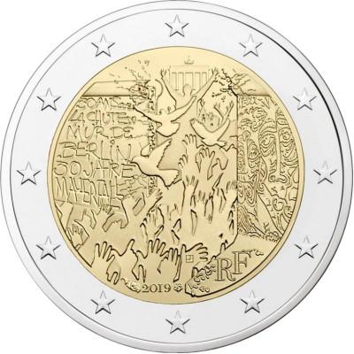 """Монета 2 евро 2019 год. Франция. """"30-летие падения Берлинской стены""""."""