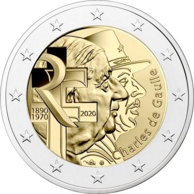 "Монета 2 евро 2020 год. Франция. ""50 лет со дня смерти Шарля де Голля""."