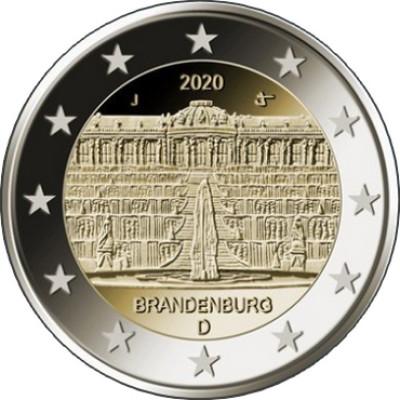 """Монета 2 евро 2020 год. Германия. """"Дворец Сан-Суси в Потсдаме""""."""