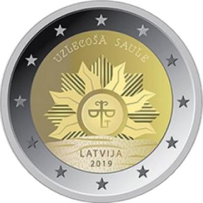 """Монета 2 евро 2019 год. Латвия. """"Восходящее солнце""""."""