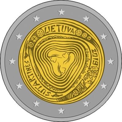 Монета 2 евро 2019 г. Литва. Сутартинес.