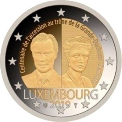 Монета 2 евро 2019 г. Люксембург. 100-летие вступления на престол Великой Герцогини Шарлотты