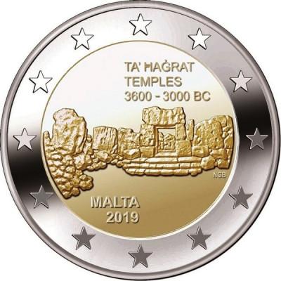 Монета 2 евро 2019 г. Мальта. 4-я монета серии с изображением мальтийских доисторических комплексов -Та' Хаджрат.
