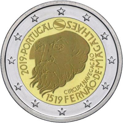 Монета 2 евро 2019 года. Португалия. 500-летие кругосветного плавания Магеллана.