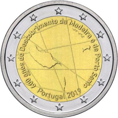 """Монета 2 евро 2019 г. Португалия. """"600 лет открытия архипелага Мадейра""""."""