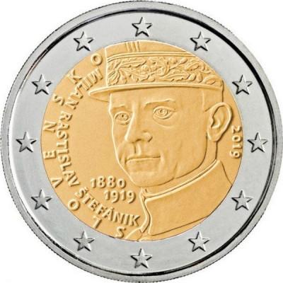 "Монета 2 евро 2019 год. Словакия. ""100 лет со дня смерти Милана Ростислава Штефаника""."