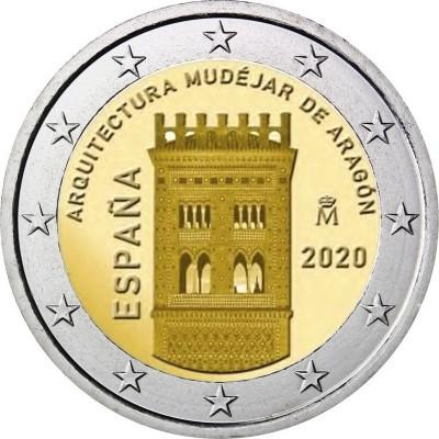 Монета 2 евро 2020 год. Испания. Архитектура мудехар в Арагоне.