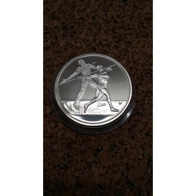 Монета 10 евро 2004 год. Олимпиада. Афины. Метание копья. Серебро.