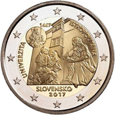"Монета 2 eвро 2017 г. Словакия. ""550-летие Истрополитанского Университета""."