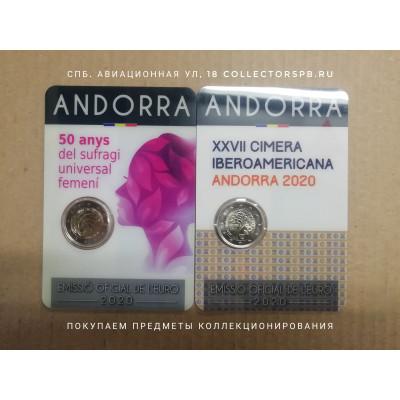 Комплект из 2 монет 2 евро Андорра 2020 год. Иберо-Американский саммит и избирательное женское право.