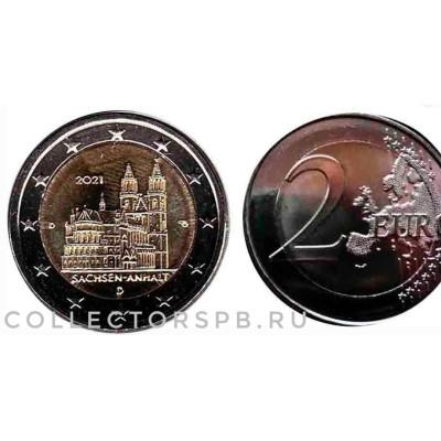 """Монета 2 евро 2021 год. Германия. """"Федеральная земля Саксония-Ангальт. Магдебургский собор""""."""