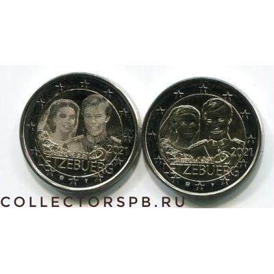 2 пары (4 монеты) 2 евро 2021 год. Люксембург. День рождения Герцога Жана, Свадьба Анри и Марии-Терезии.