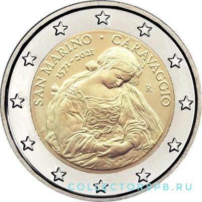 Монета 2 евро 2021 год. Сан-Марино. Караваджо.