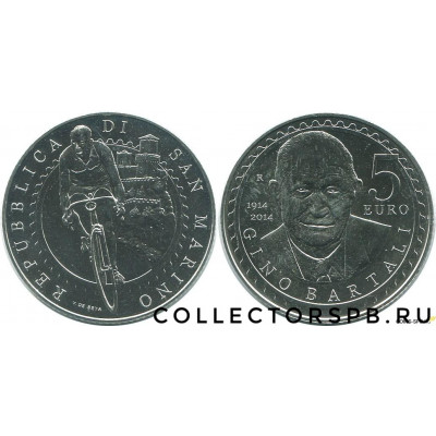 Монета 5 евро 2014 год. Сан-Марино. Джино Бартали. Серебро.