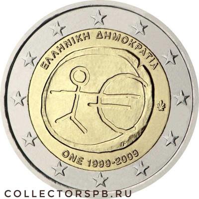 Монета 2 евро 2009 год. Греция. 10 лет в ЕС.