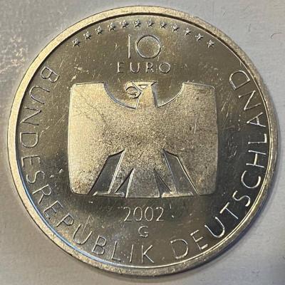 """Монета 10 евро 2002 год. Германия. """"50 лет Немецкому телевидению"""". Серебро."""