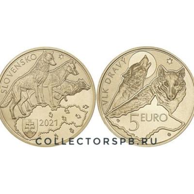 Монета 5 евро 2021 год. Словакия. Волк.
