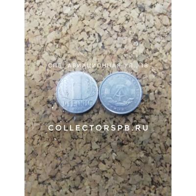 Монета 1 пфеннинг 1968 год. ГДР.