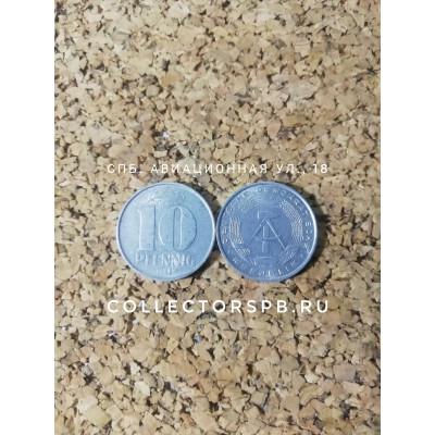 Монета 10 пфеннингов 1968 год. ГДР.