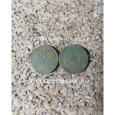 Монета 20 пфеннингов 1969 год. Германская Демократическая республика.