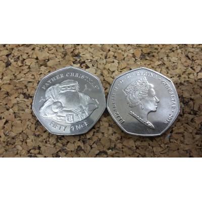 """Монета 50 пенсов 2018 год. Гибралтар. """"Санта Клаус""""."""