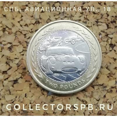 Монета 2 фунта 1998 год. Остров Мэн. Автомобильные гонки ретромобилей.