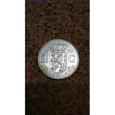 Монета. Нидерланды 2,5 гульдена 1960 год.