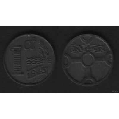 Монета 1 цент 1943 год. Нидерланды. Цинк.