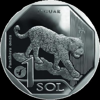 Монета 1 соль 2018 год. Перу. Яруар. Серия фауна Перу .