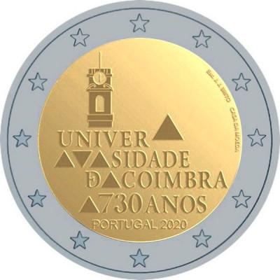 """Монета 2 евро 2020 год. Португалия. """"730-летие университета Коимбры"""""""
