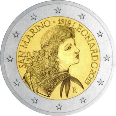 "Монета 2 евро 2019 год. Сан-Марино. ""500 лет со дня смерти Леонардо да Винчи"". В открытке."