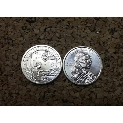 """Монета 1 доллар 2019 год. США. Сакагавея. """"Американские индейцы в космической программе США"""""""