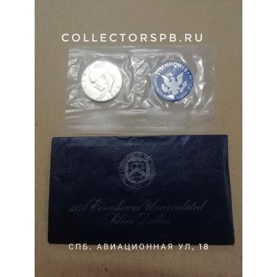 Монета 1 доллар 1974 год. США. Орел (лунный). Серебро.