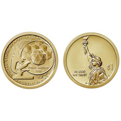 Монета 1 доллар 2019 год. США.  Вакцина против полиомиелита.