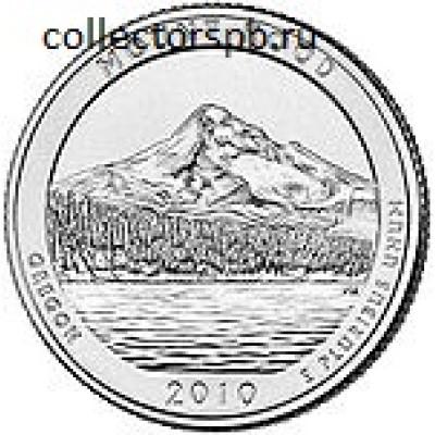 """Монета 25 центов 2010 года. США. Из серии """"Национальные парки"""". № 5. """"Национальный лес Маунт Худ. Орегон""""."""