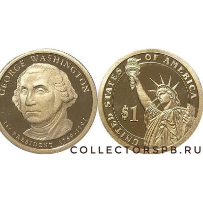 Монета 1 доллар 2007 год. США. 1 президент США. Джорж Вашингтон.